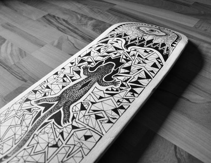 Posca on skateboard.