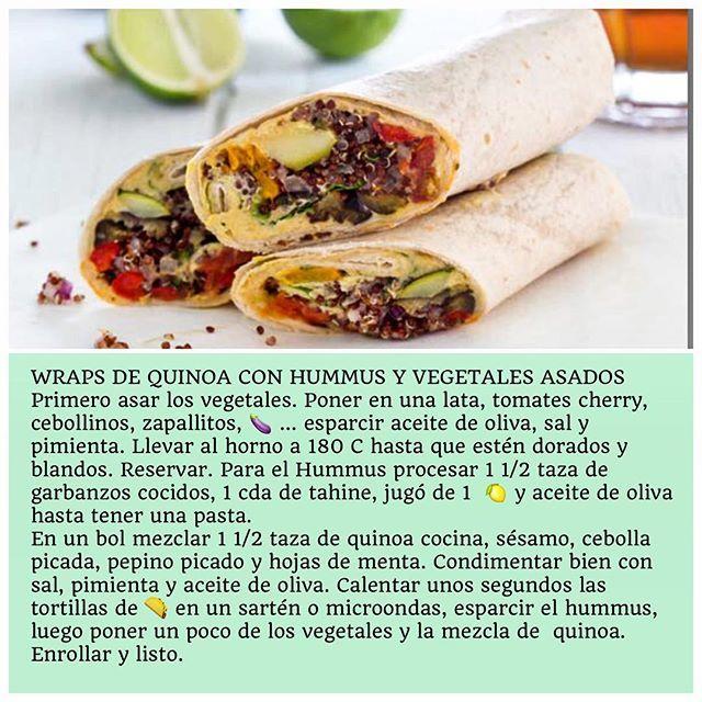 WRAPS DE QUINOA CON HUMMUS Y VEGETALES ASADOS