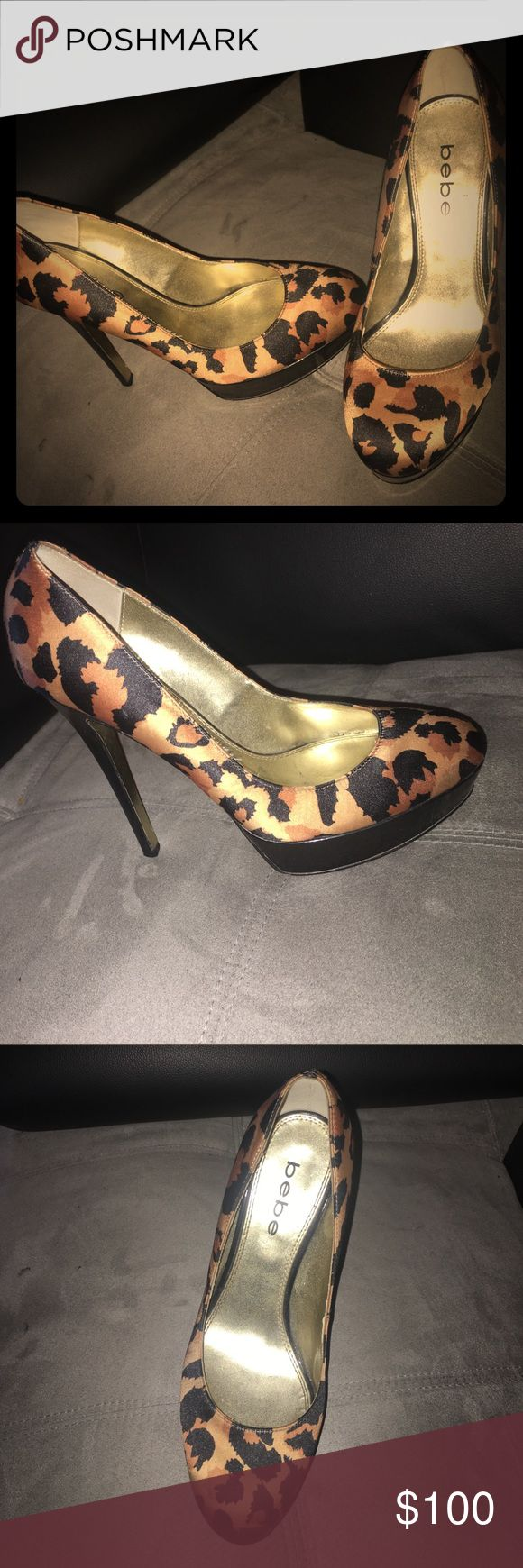 SIZE 8 - BEBE 6 inch heels leopard . It is 6 inches tall and very comfortable    I got it from the actual BEBE store in topanga mall. Only wore it a couple times. Very clean. bebe Shoes Heels
