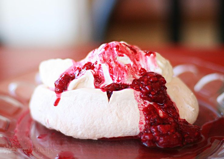 Pavlova ~ Recipe for individual servings of Pavlova, the egg white meringue dessert named after Russian ballerina Anna Pavlova. ~ SimplyRecipes.com