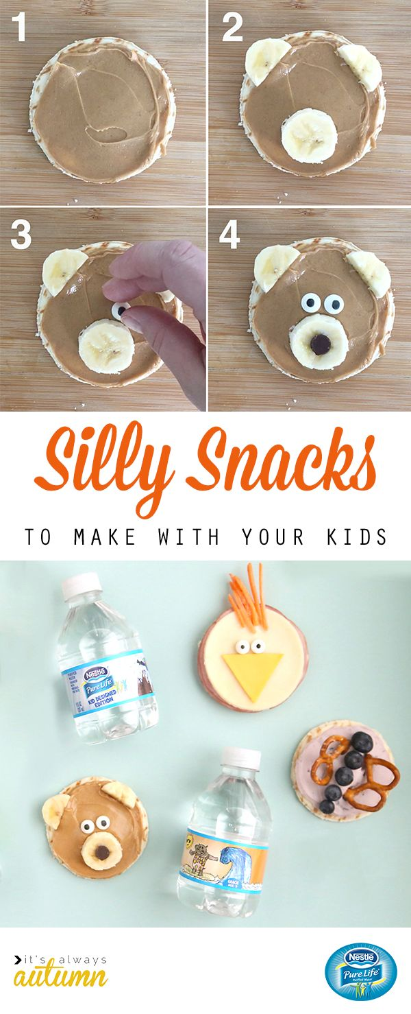 Encourage your kids to make healthy snack choices when you pair these super silly flatbreads with NESTLÉ Pure Life Kid Designed Edition bottles. Kids will go crazy for this Peanut Butter Banana Bear with candy eyes and a chocolate chip nose. Get more tips for making snack time healthy and fun from It's Always Autumn.