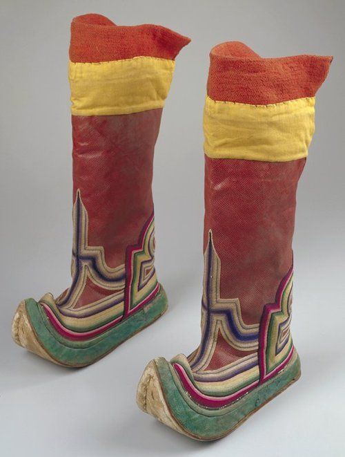 Pair of boots  date: c. 1900  medium: Leather, ox hide  location: Asia, Mongolia