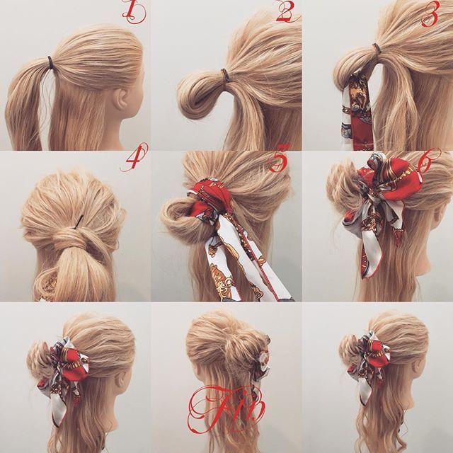 スカーフを使ったハーフアップのメッシーバン✨ 1,ハーフアップで結びます 2,お団子を作ります 3,輪っかにスカーフを通します 4,お団子を作って余った毛先をゴムに巻きつけてピンで留めます 5,スカーフを巻きつけます 6,蝶々結びを作ります Fin,崩して巻き直したら完成です 参考になれば嬉しいです^ ^ #ヘア#hair#ヘアスタイル#hairstyle#サロンモデル#サロンモデル撮影#サロンモデル募集#撮影#編み込み#三つ編み#フィッシュボーン#ロープ編み #アレンジ#SET#ヘアアレンジ#アレンジ動画#アレンジ解説#香川県#高松市#丸亀市#宇多津#美容室#美容院#美容師#berry#スカーフアレンジ