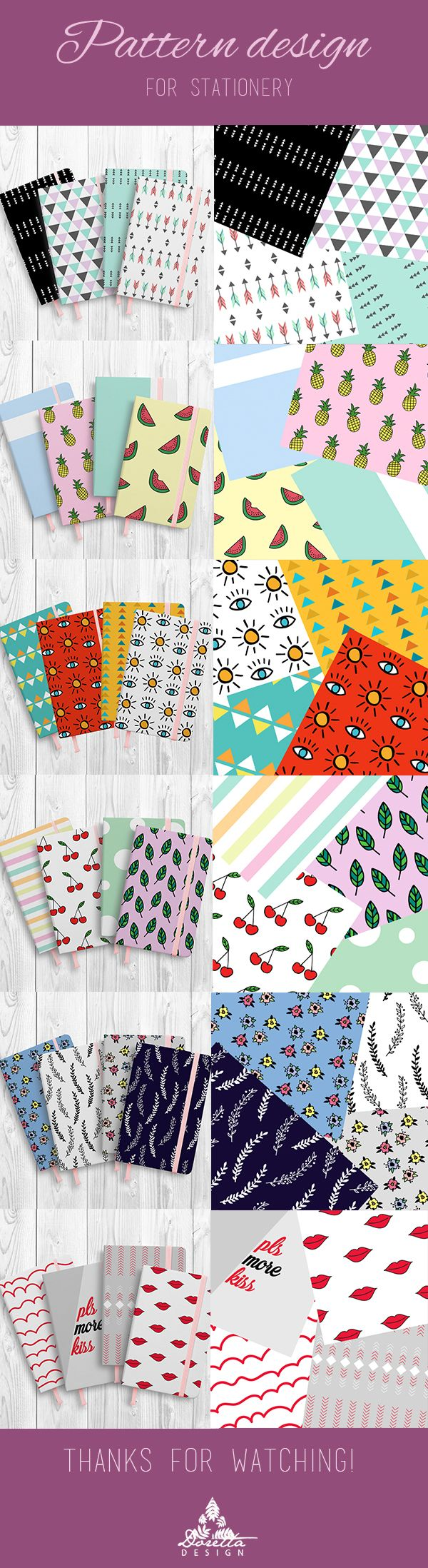 Check my summer pattern collection for stationery! I tried to catch summer and festival feeling, but romantic style also appears.   You can buy different products with these patterns on: https://society6.com/dorettadesign https://www.redbubble.com/people/dorettadesign