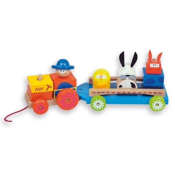 VEHI502.01.Tractor de granja de madera de juguete para jugar a encajar y empujar