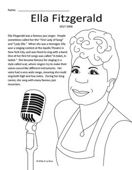 Ella fitzgerald biography coloring page and word search for Ella coloring pages