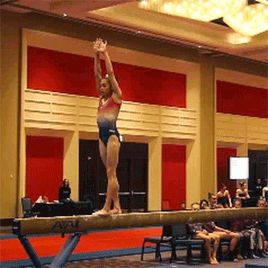 (Gabby Perea's standing full) such a gorgeous piece of gymnastics