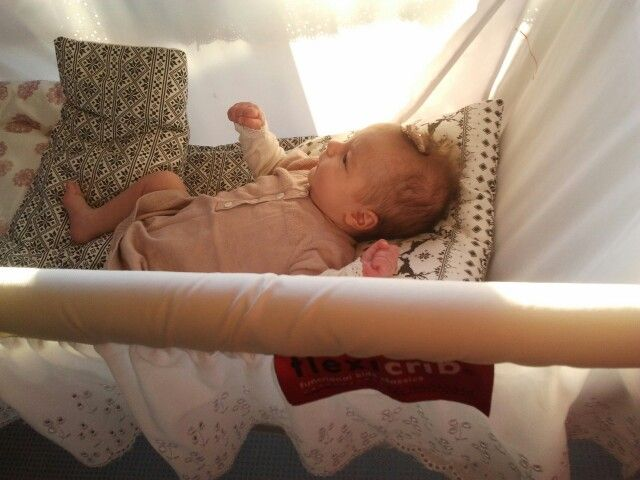 FlexiCrib, patented expanding hanging bed fits from newborn baby to 4 year old child