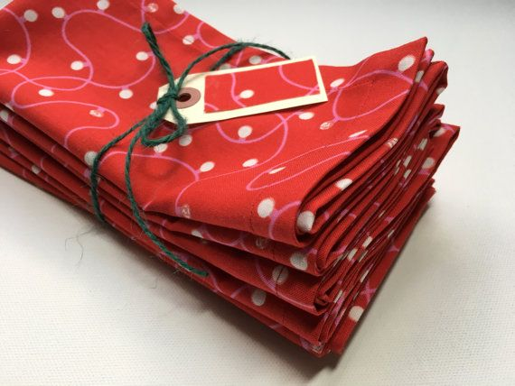 NAPKINS  Set of 6  HOLIDAY CHRISTMAS  Cotton by justjillhandmade
