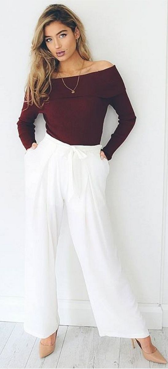 #spring #fashion #outffitideas | Burgundy Top + Wide Leg Pants                                                                             Source