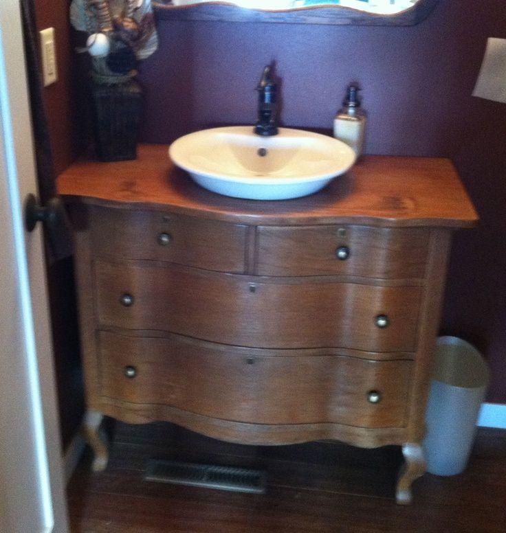 Model Repurposed Dresser Into Bathroom Vanity Attic Bathroom Pinterest