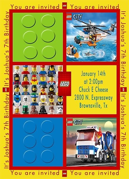 Lego invitation, inspiration for a layout for my son's 5th ...