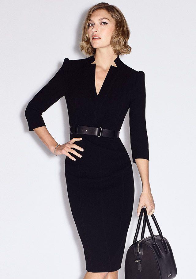 c92d82b2e5127 Belted Black Pencil Dress | The Forever Dress | Karen Millen Essentials