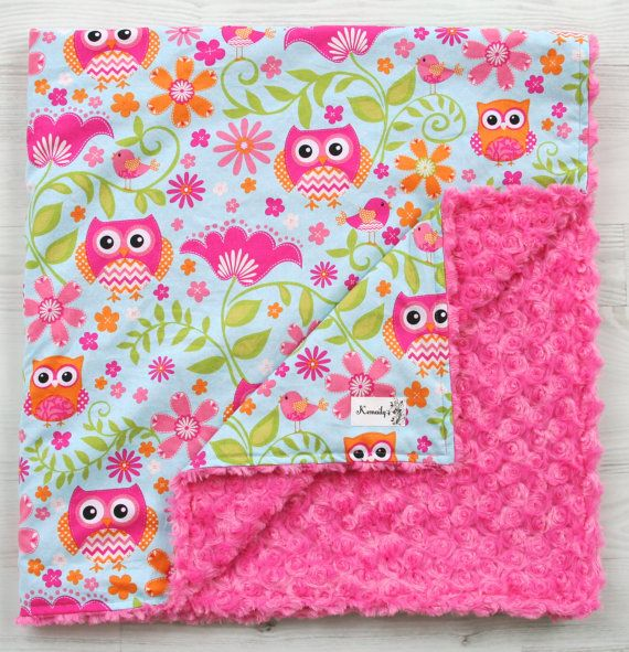 Girly Owl Minky Baby Blanket From Kemaily by Kemaily on Etsy