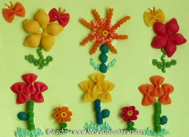 fleurs en pâtes colorées_bricolage collage