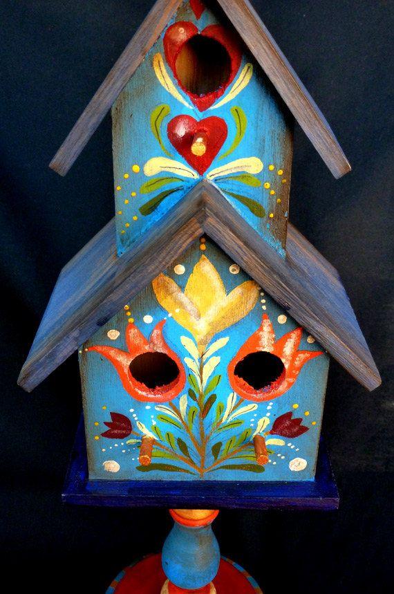 Blue Condo Pedestal Birdhouse in Pennsylvania Dutch by KrugsStudio