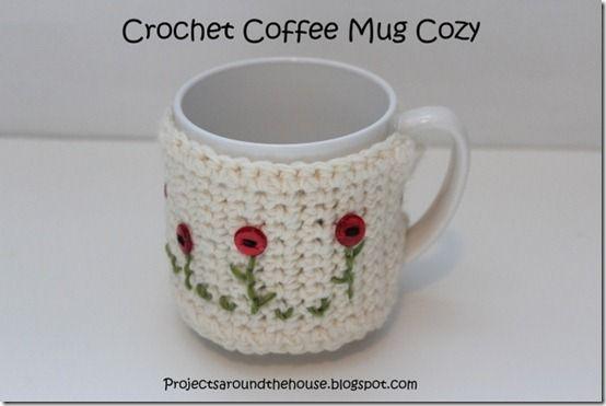 caneca de café de crochê acolhedor