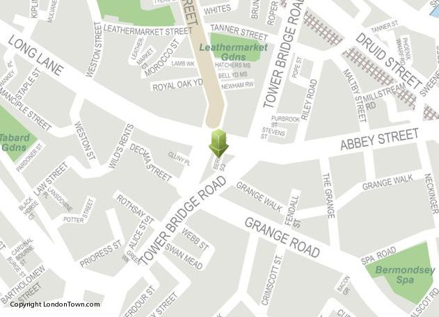 Location map of Bermondsey Square Antiques Market from http://LondonTown.com