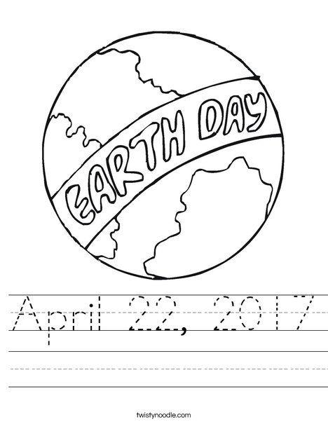 April 22, 2017 Worksheet - Twisty Noodle | Earth day ...