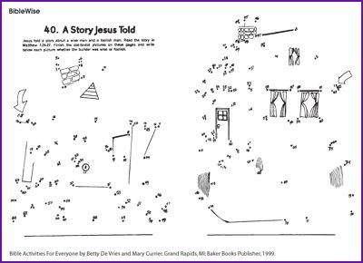 Parable Wise Man & Foolish Man (Dot-to-Dot) - Kids Korner - BibleWise