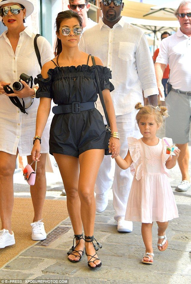 Girls' day: Kourtney Kardashian, 37, and her 4-year-old Penelope headed out to explore the rustic town of Portofino, Italy together - with her mother Kris and her new man in tow