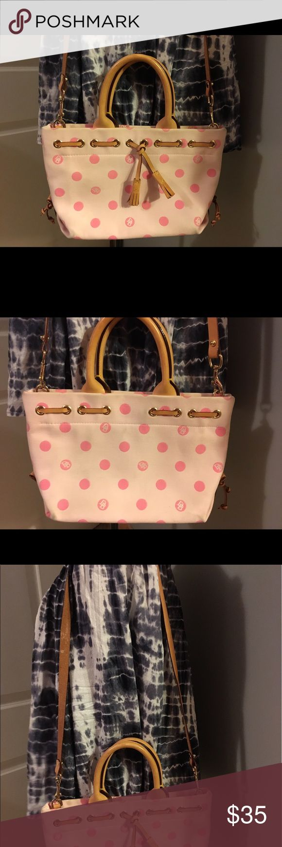 """D&B Pink Purse 👛 Cute polka dot pink bag with brown trim and accents. Gold hardware and removable strap. 12"""" wide x 8"""" wide. 20"""" shoulder drop. Some wear on bottom of bag, shown in photo, but lots of wear left! Dooney & Bourke Bags Shoulder Bags"""