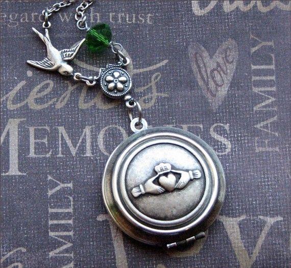 Silver Claddagh Locket Necklace- Enchanted Irish Wedding - Jewelry by TheEnchantedLocket - STUNNING Wedding Bride Wife Gift