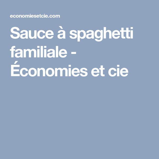 Sauce à spaghetti familiale - Économies et cie