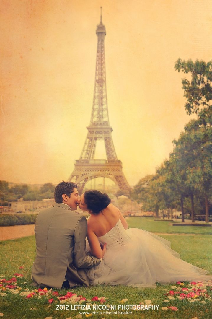 I do... love you... cute couple in love just married Eiffel Tower Paris