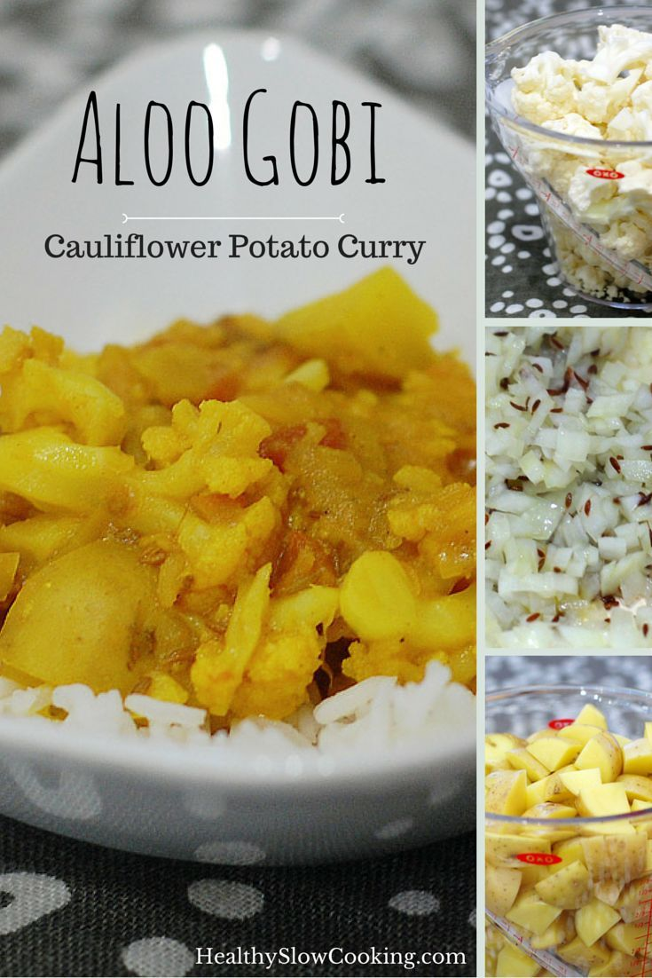 Easy Cauliflower Potato Curry (Aloo Gobi) can be made in the slow cooker or on the stove-top.