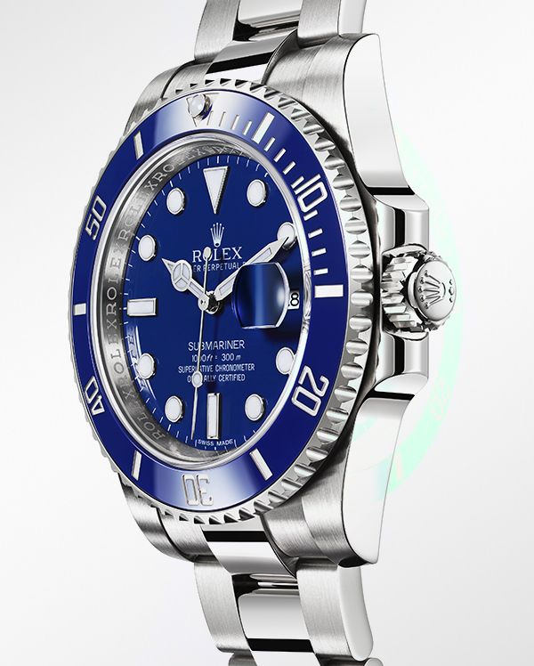 The Rolex Submariner Date in 18 ct white gold with a blue Cerachrom bezel in ceramic, blue dial and  Oyster bracelet.