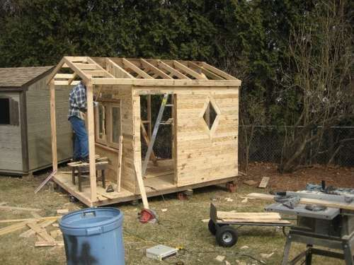 Playhouse made from pallets,  seriously