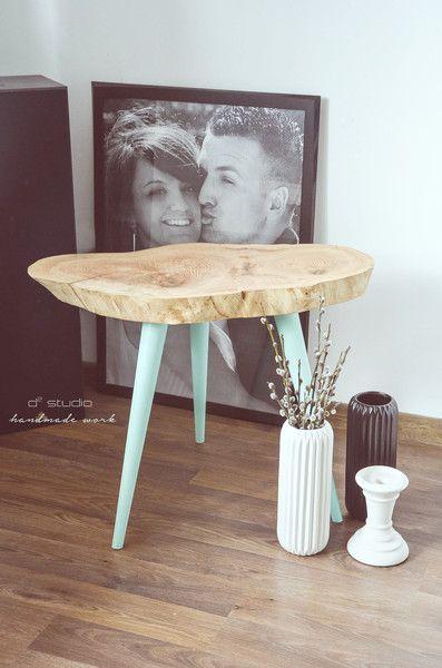 Sweet Mint Stolik kawowy skandynawski handmade - d2_studio - Stoliki kawowe