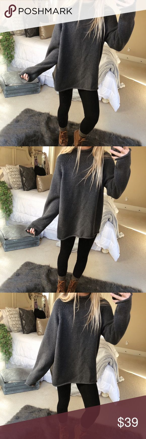 charcoal chunky mock neck knit gorgeous charcoal grey chunky mock neck knit sweater. super cozy and thick! fits a size medium or large 🌲🍂☕️ — * all offers 100% welcomed + encouraged * bundle for a private discount of at least 20% off  * orders guaranteed to ship within 1-2 days unless stated otherwise * ask me any questions if you ever have any! xo Sweaters