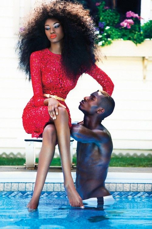 Miyanda and Adonis featured in Dress to Kill Magazine's winter issue: Red Lace, Funky Fashion, Natural Hair, Big Hair, Fashion Editorial, Black Models, Female Models, Skin Treatments, Black Girls