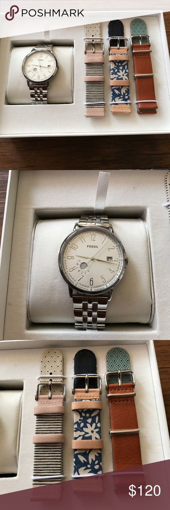 Fossil watch set Brand bew still on box. Has three different straps for different styles. Fossil Accessories Watches