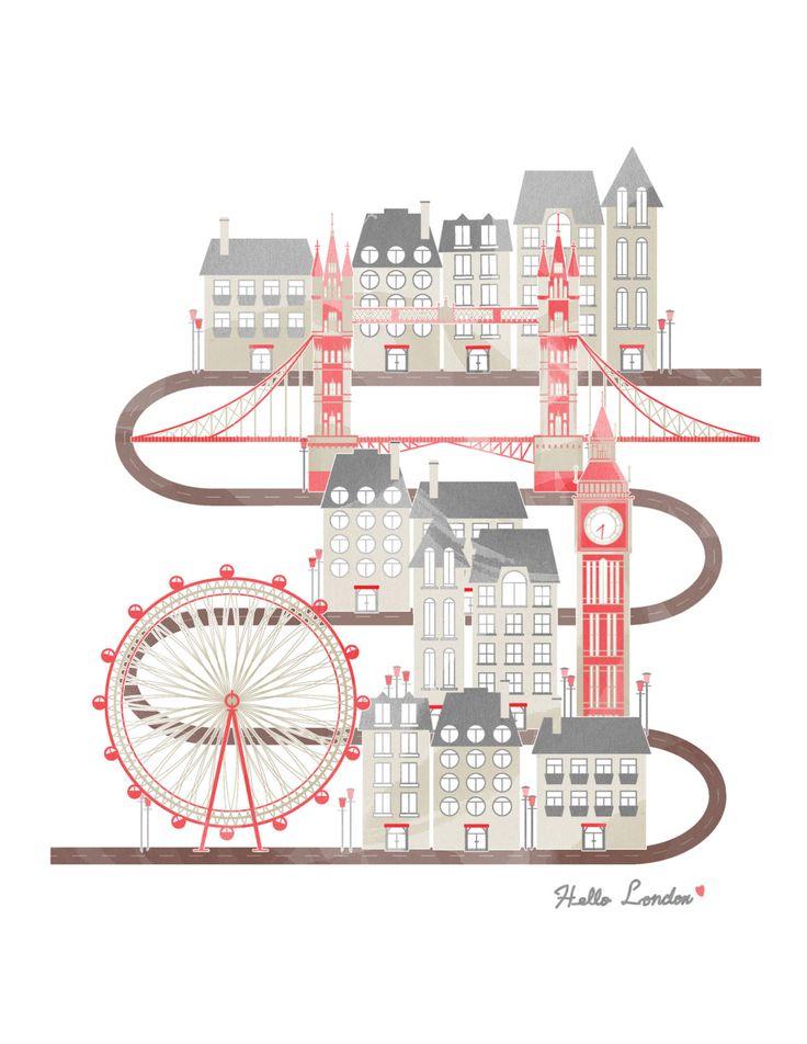 Travel in London Illustration Poster