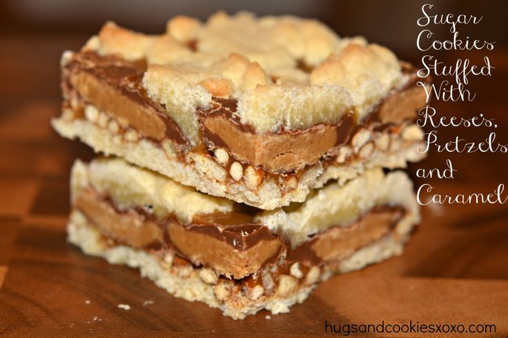 sugar cookies, peanut butter cups, caramel and pretzel cookies