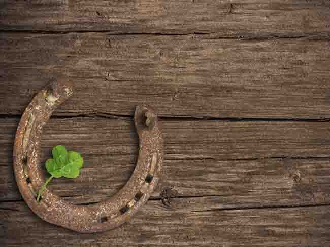 Irish superstitions - If you find a four-leaved shamrock you will be lucky. A lucky horseshoe should have the open end facing upwards, or the luck will run out.
