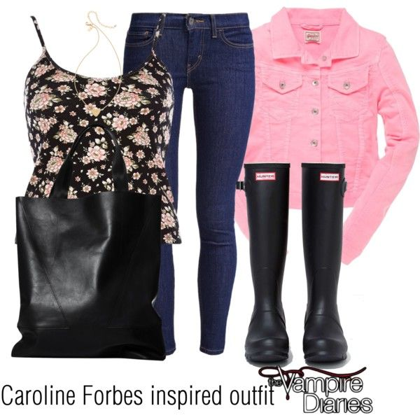 Caroline Forbes inspired outfit/TVD by tvdsarahmichele on Polyvore featuring River Island, Superdry, Levi's, Hunter and Kate Spade