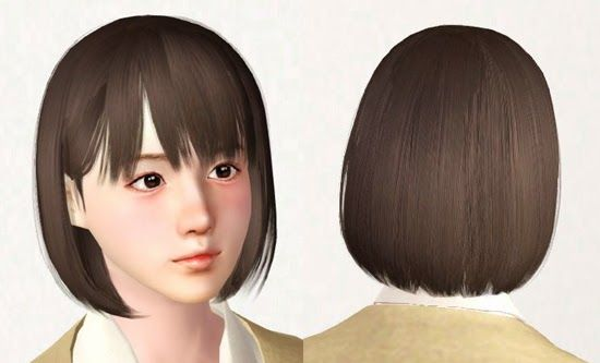 Pu + Chi House: Sims 3 CC straight bob hair Straight bob hair