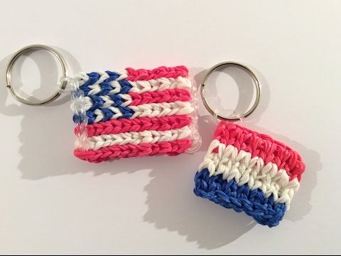 "Rainbow Loom Nederlands, mini vlag, Alpha Loom met ""gewone"" elastiekjes. Mini flags"