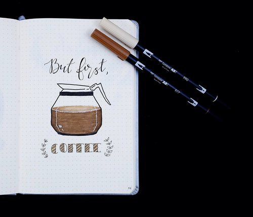 March Bullet Journal 2018 Quote Page But First, Coffee // Plant Based Bride