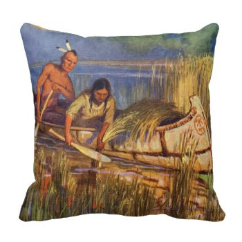 Illustration of two Native Americans in a canoe harvesting wild rice. Screen print from a painting by Arnold Lorne Hicks from a 1935 children's book. | Image ID: 22103065 | © PoodlesRock/Corbis #men #native #american #ethnicity #two #people #fine #art #women #mohawk #water #rice #plant #color #print #american #harvest #picking #canoe #arnold #lorne #hicks #male #adult #people #two #visual #arts #female #hairstyle #oryza #print #north #american #cultivating #farming #watercraft