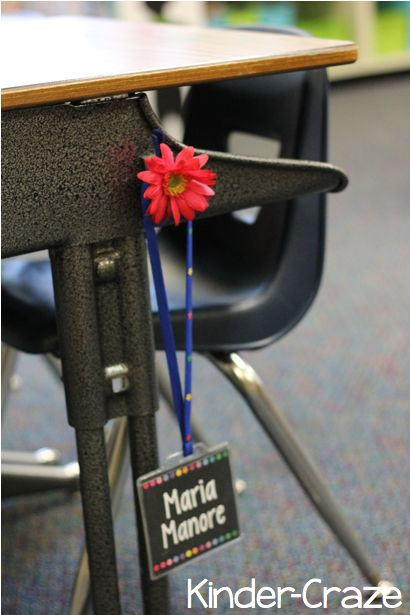 use a magnet to store student name tags on the sides of each desk