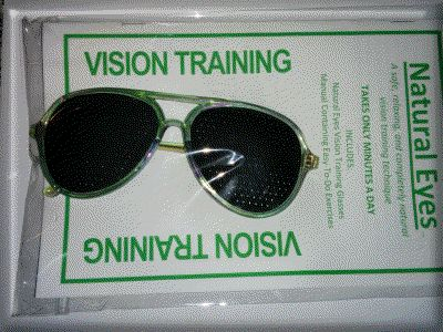 Aviator Style Tinted Frame Pinhole Glasses The lasered pinhole glasses are the same as the black version. The color is only for aesthetic purposes.  Please note that Pinhole glasses are not recommended for driving and should only be used as training tools in a safe environment.