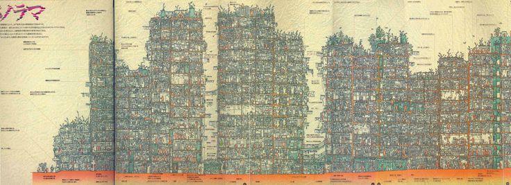 九龍城砦」の内部構造が詳細に描かれたパノラマ断面図005.jpg (4500×1636)