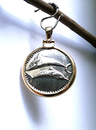 2 Dolphins Ancient Gold - Silver Pendant     Pressed - Handmade     14K Gold - 925 Sterling Silver     Thickness 23mm - Diameter 25mm     3g 14Gold - 9.9g 925 Silver - Weight 12.9g