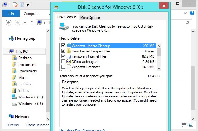 disk cleanup dialog