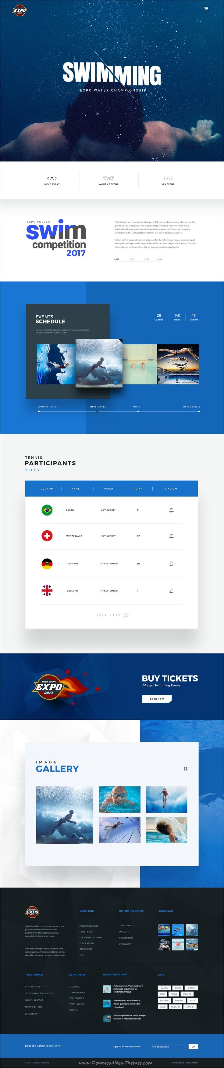 Expo is clean and modern design PSD template for multipurpose #swimming #sports events website with 18+ layered PSD pages download now..
